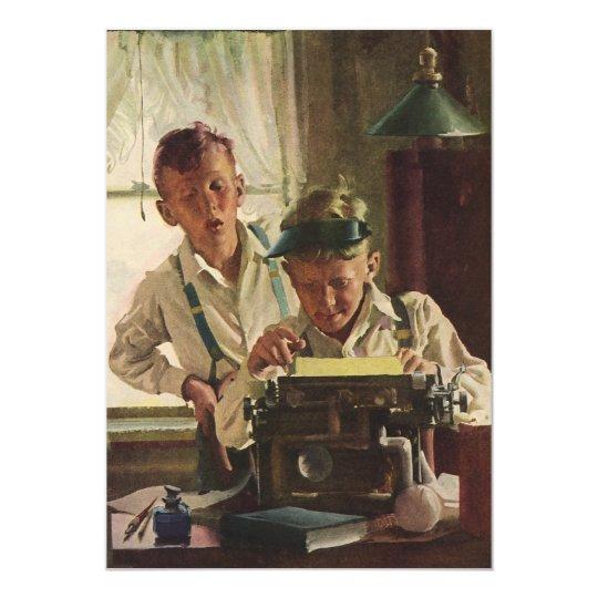 Vintage Children, Boys Journalist, Office Party Card