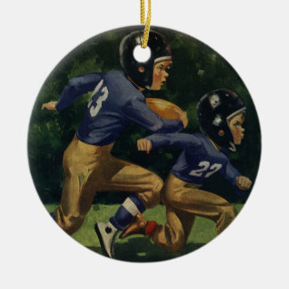 Vintage Children, Boys Playing Football, Sports Ceramic Ornament