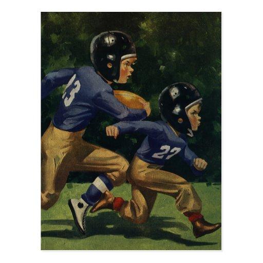 Vintage Children, Boys Playing Football, Sports Postcard