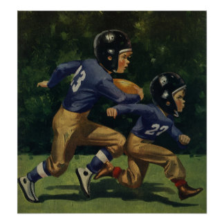 Vintage Children, Boys Playing Football, Sports Poster