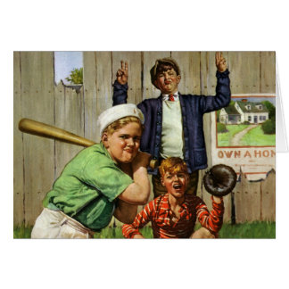 Vintage Children Boys Sports Baseball Player Game Greeting Card
