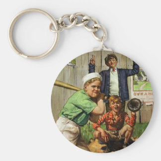 Vintage Children Boys Sports Baseball Player Game Keychain