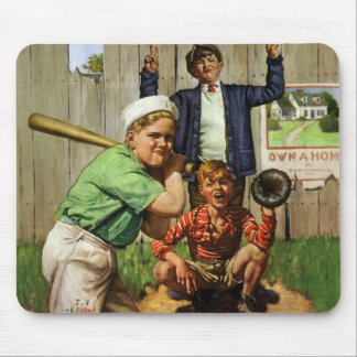 Vintage Children Boys Sports Baseball Player Game Mouse Pad