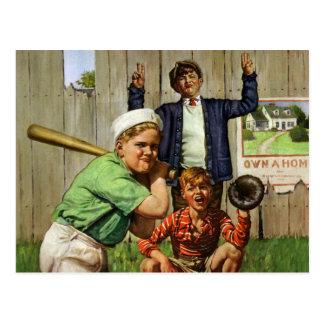 Vintage Children Boys Sports Baseball Player Game Postcard