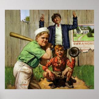 Vintage Children Boys Sports Baseball Player Game Poster