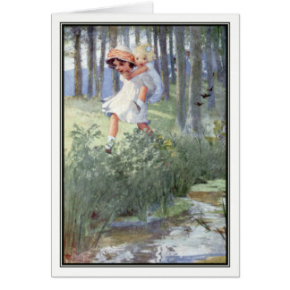 Vintage Children by Stream - Honor C. Appleton Card