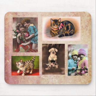Vintage Children Cats and a Dog Mouse Pad