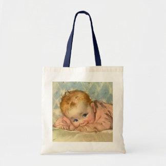 Vintage Children Child, Cute Baby Girl on Blanket Budget Tote Bag
