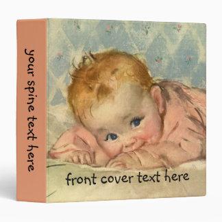 Vintage Children Child, Cute Baby Girl on Blanket Binder