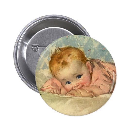 Vintage Children Child, Cute Baby Girl on Blanket Button