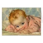 Vintage Children Child, Cute Baby Girl on Blanket Greeting Card