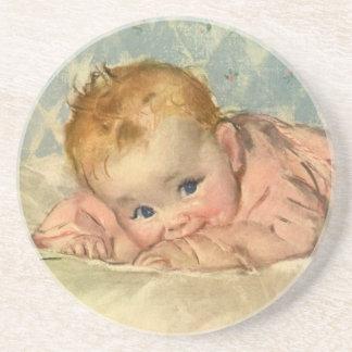 Vintage Children Child, Cute Baby Girl on Blanket Drink Coaster