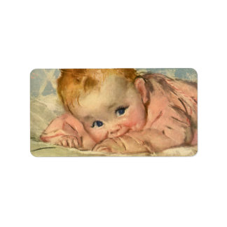 Vintage Children Child, Cute Baby Girl on Blanket Personalized Address Labels