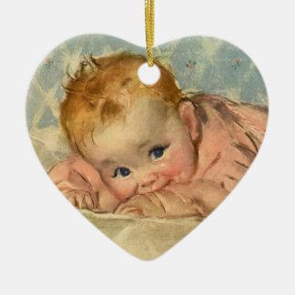 Vintage Children Child Cute Baby Girl on Blanket Christmas Ornaments
