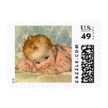 Vintage Children Child, Cute Baby Girl on Blanket Stamps