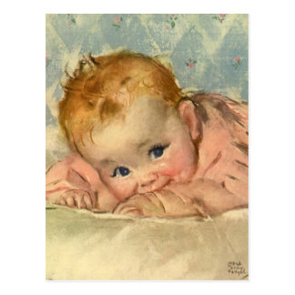 Vintage Children Child, Cute Baby Girl on Blanket Post Card
