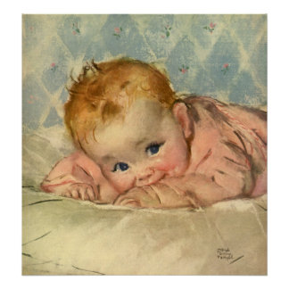Vintage Children Child, Cute Baby Girl on Blanket Poster
