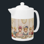 "Vintage Children Christmas Supper Kate Greenaway Teapot<br><div class=""desc"">Many children in vintage clothes - boys and girls, both in pink and blue, the girls with big white bonnets with ribbons, the boys with big white collars - sit at a large table for the Christmas supper. On the table there are many plates with food: traditional Christmas pudding and...</div>"