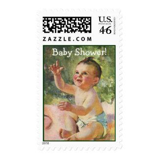 Vintage Children Cute Baby Girl on a Pink Blanket Postage Stamp