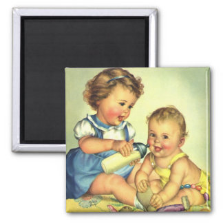 Vintage Children, Cute Happy Toddlers Smile Bottle 2 Inch Square Magnet