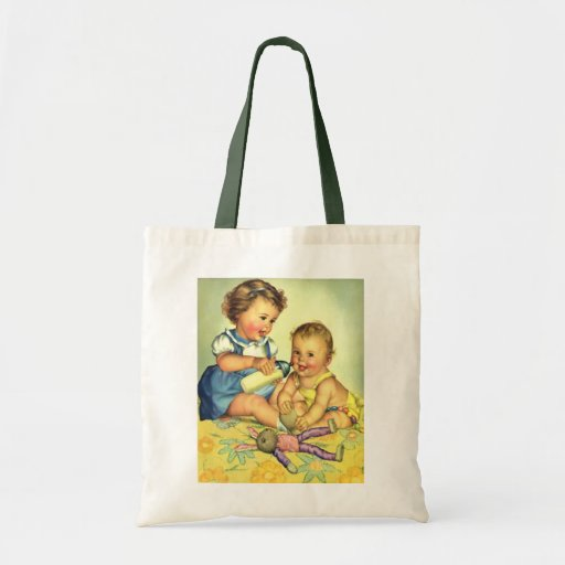 Vintage Children, Cute Happy Toddlers Smile Bottle Canvas Bags