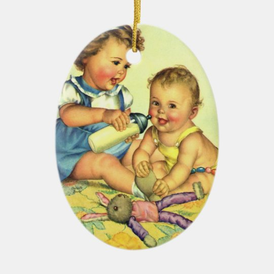 Vintage Children, Cute Happy Toddlers Smile Bottle Ceramic Ornament