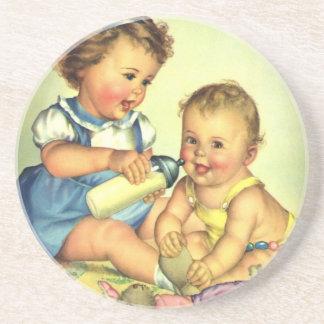 Vintage Children, Cute Happy Toddlers Smile Bottle Drink Coaster
