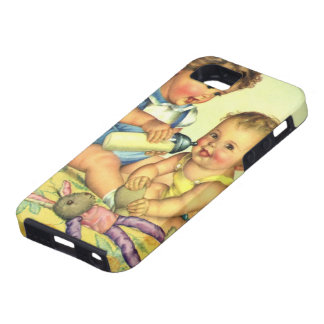 Vintage Children, Cute Happy Toddlers Smile Bottle iPhone 5 Case