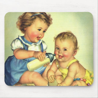 Vintage Children, Cute Happy Toddlers Smile Bottle Mouse Pad