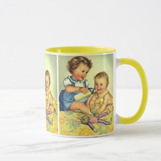Vintage Children, Cute Happy Toddlers Smile Bottle Mug