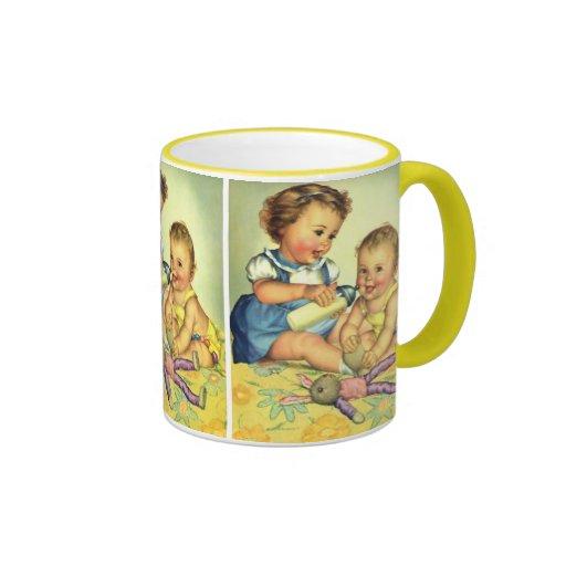 Vintage Children, Cute Happy Toddlers Smile Bottle Coffee Mug