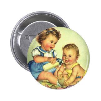 Vintage Children, Cute Happy Toddlers Smile Bottle Pinback Button