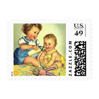 Vintage Children, Cute Happy Toddlers Smile Bottle Stamps