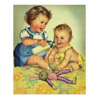 Vintage Children Cute Happy Toddlers Smile Bottle Poster