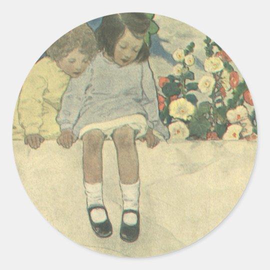 Vintage Children, Garden Wall Jessie Willcox Smith Classic Round Sticker