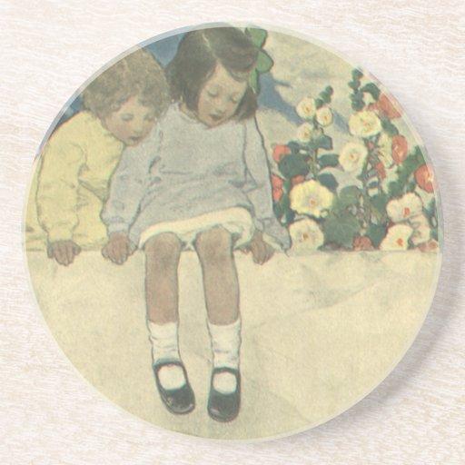 Vintage Children, Garden Wall Jessie Willcox Smith Beverage Coasters