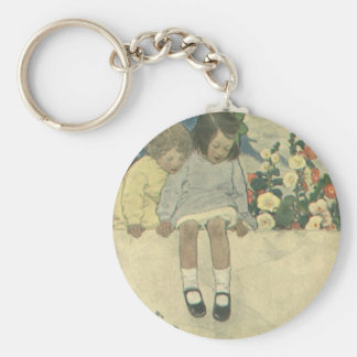 Vintage Children, Garden Wall Jessie Willcox Smith Keychain