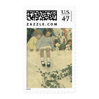 Vintage Children, Garden Wall Jessie Willcox Smith Postage