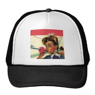 Vintage Children, Girl Noise Maker, Birthday Party Mesh Hats