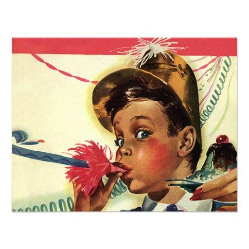 Vintage Children, Girl Noise Maker, Birthday Party 4.25x5