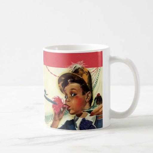 Vintage Children, Girl Noise Maker, Birthday Party Coffee Mug