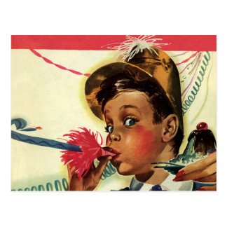 Vintage Children, Girl Noise Maker, Birthday Party Post Cards