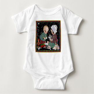 Vintage Children Having a Pretend Tea Party Baby Bodysuit