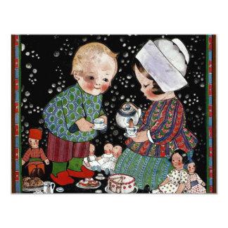 Vintage Children Having a Pretend Tea Party Card