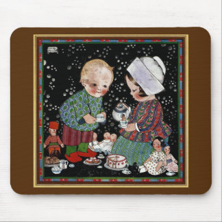 Vintage Children Having a Pretend Tea Party Mouse Pad