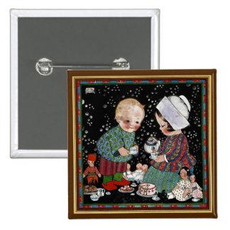 Vintage Children Having a Pretend Tea Party Pinback Button