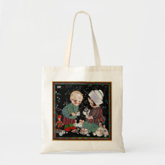 Vintage Children Having a Pretend Tea Party Tote Bag