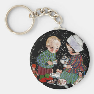 Vintage Children Having a Tea Party with Dolls Keychains