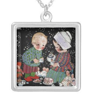 Vintage Children Having a Tea Party with Dolls Square Pendant Necklace