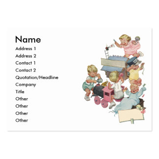 Vintage Children Having Fun Playing w Toy Trains Large Business Cards (Pack Of 100)